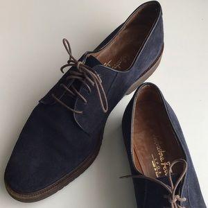 Salvatore Ferragamo Navy Leather Oxford Loafers